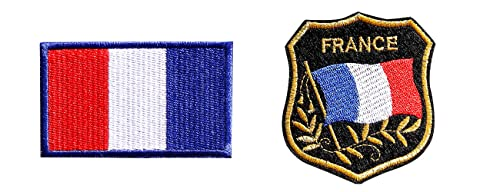 Aufnäher zum Aufbügeln, 2 Stück, Frankreich, Flagge, zum Aufbügeln oder Aufnähen, für Kleidung, T-SHIRT Jeans Jacke.