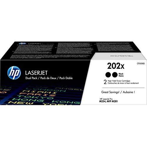 HP 202X | CF500XD | 2 Toner Cartridges | Black | Works with HP LaserJet Pro M254, M281cdw, M281dw, M281fdw | High Yield