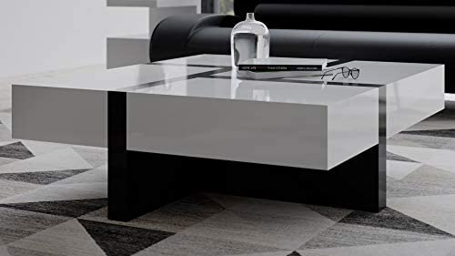 Zuri Mcintosh High Gloss Coffee Table with Storage – White Square with Black Accents