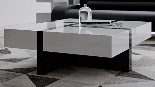 Zuri Mcintosh High Gloss Coffee Table with Storage - White Square with Black Accents