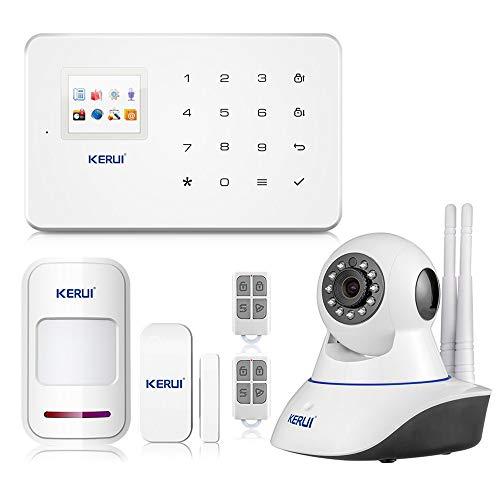 KERUI G18 APP Control Hogar del Alarma Sistema de Seguridad GSM Alarma Sensor de Ventana/Puerta Magnético Inalámbrico, Detector Movimiento, Cámara IP Vigilancia Infrarroja WIFI