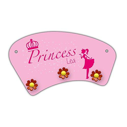 Wand-Garderobe mit Namen Lea und schönem Prinzessin-Motiv für Mädchen - Garderobe für Kinder - Wandgarderobe