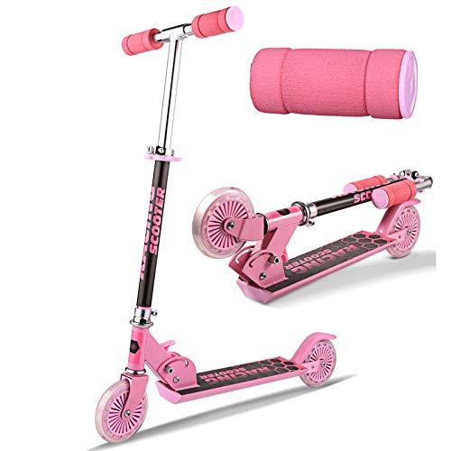 Eloklem Kinderscooter Kinderroller mit LED Leuchträdern Rollen Faltbar Roller und 3 Stufen Einstellbare Höhenverstellbarer ab 3 Jahre (Rosa)
