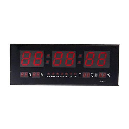 zjchao Reloj de Pared Grande Red LED Digital Alarma del Reloj Temporizador de la batería con la Temperatura del Calendario 36 C