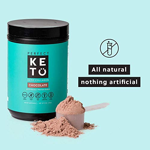 Perfect Keto Collagen Peptides Vanilla: Grass Fed Low Carb Collagen Powder Supplement with MCT Oil Powder - Best as Keto Drink Creamer or Added to Ketogenic Diet Snacks. Paleo & Gluten Free