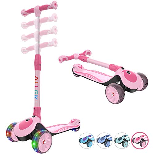 Allek F01 Folding Kick Scooter for Kids, 3-Wheel LED Flashing Glider Push Scooter with Height Adjustable and Foldable Handlebar, Dual Color Anti-Slip Wide Deck for Boys Girls 3-12 (Pink)