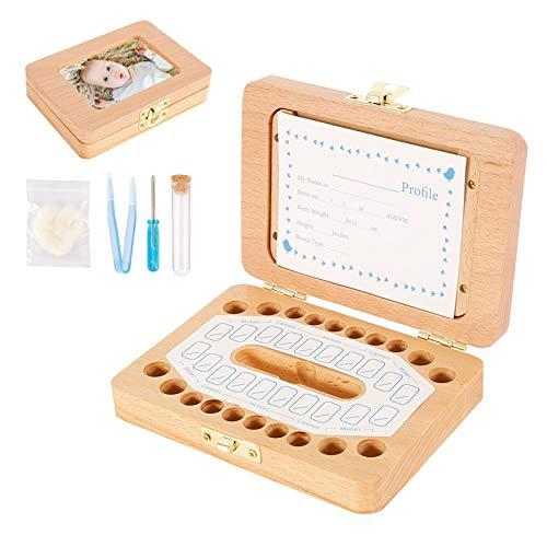Caja Dientes Leche, Regalo para niños en madera de Souvenir, Caja para guardar dientes, Acumulación de Dientes de dientes para bebés de Almacenamiento de Dientes de Leche Souvenir Caja