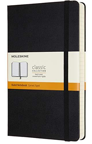 Moleskine Classic Notebook Expanded, Taccuino a Righe, Copertina Rigida e Chiusura ad Elastico, Formato Large 13 x 21 cm, Colore Nero, 400 Pagine