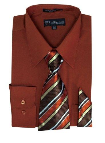 Milano Moda Men's Long Sleeve Dress Shirt with Matching Tie and Handkie SG21A-Brick-15-15 1/2-34-35
