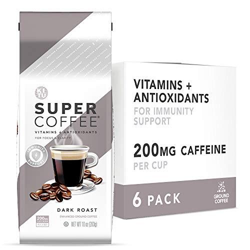 Kitu Super Coffee Grounds, Energy & Immunity (2x Caffeine, Vitamins, Antioxidants) [Dark Roast] 10 Oz, 6 Pack   Keto Friendly Ground Coffee, 100% Arabica Coffee Ground