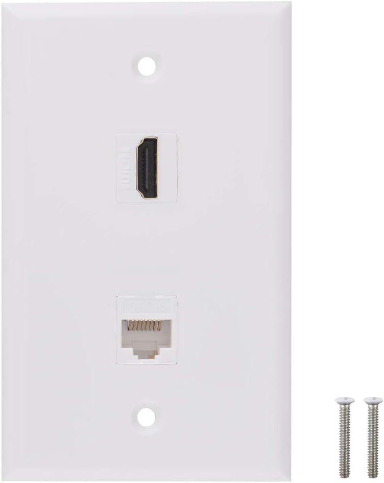 HDMI Ethernet store Wall Plate 1 Port to 4K Fema Long-awaited Female Keystone