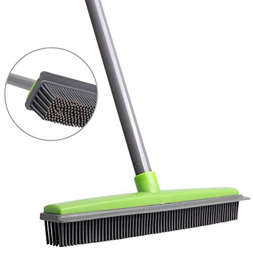 TNELTUEB Soft Push Broom Bristle Rubber 59'' Squeegee Broom with Adjustable Long Handle for Pet Cat Dog Hair Carpet Hardwood Floor Tile Windows Cleaning (Green)