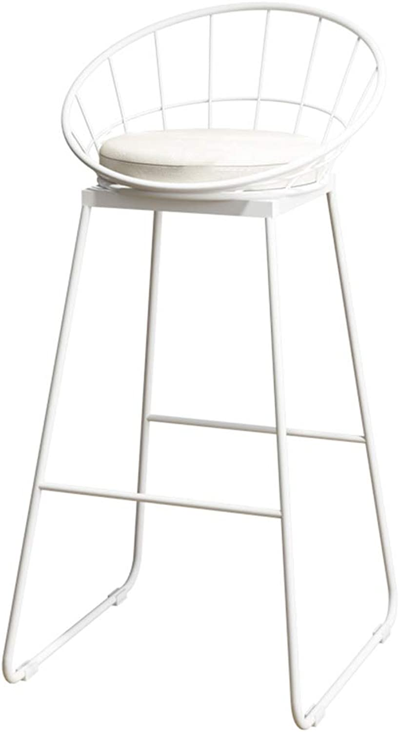NLLPZ-STOOL Home Furniture Fashion Wrought Iron Bracket Bar Stool Kitchen Breakfast Stool Chair with Backrest White Bracket Legs White Sponge Pad Design (Sitting Height  65 75CM) (Size   75CM)
