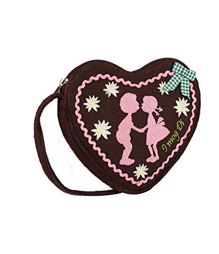 SIX Kleine Damen Oktoberfest-Handtasche, Umhängetasche mit braunem Lebkuchen-Herz, rosa Stickerei, Schleife, Kostüm, Karneval, Fasching (427-426)