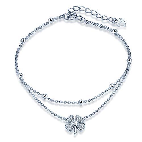 Yumilok Damen Mädchen Allergenfrei 925 Sterling Silber Vierblättriges Kleeblatt Fashion Fußkettchen Fußkette Doppelketten FußSchmuck