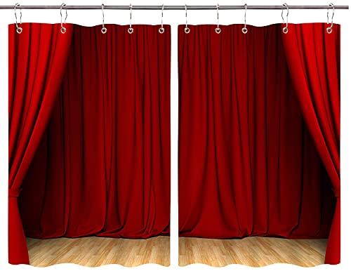JISMUCI Cortinas para Cocina Teatro Cortina roja Suelo de Madera Purdah Cortinas de Ventana Ganchos de Metal Juego de 2 Paneles para decoración de café de casa 140x100CM