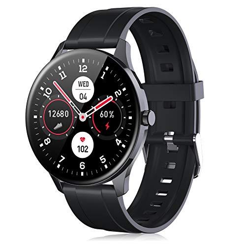 Smartwatch für Herren & Damen, IP68 Wasserdichter 1,3 Zoll Touchscreen Schrittzähler Fitness Tracker Intelligente Sportuhr mit Herzfrequenzmesser Anrufbenachrichtigung für Android iOS (Schwarz)