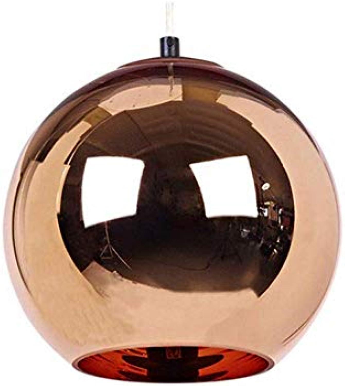 DEI QI Moderne rot Copper Spiegel Ball Glas Pendelleuchte Hunging Lampe Kronleuchter für Esszimmer Küche Restaurant Bar Shop Halle E27 110 V 220 V (Größe   40cm)
