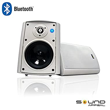 Bluetooth 5.25  Indoor/Outdoor Weatherproof Patio Speakers (White- pair)-by Sound Appeal