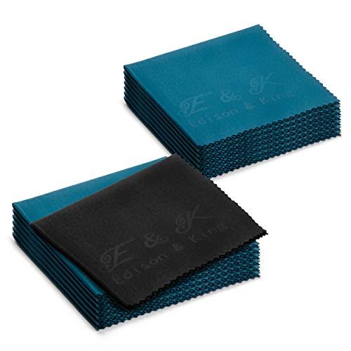 Paños de microfibra 20 × 20 cm en Multipack. Paños para limpieza de gafas extrasuaves y lavables (Paquete de 14)