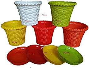 VGreen Garden Store Jugi Pot & Planter with Tray - Pack of 5