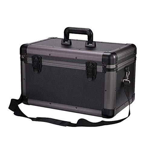 GOXJNG Medizin Box Set Gesundheit Erste-Hilfe-Ausrüstung Fall Haushalt Medizin Boxen 2 Layer Metall Notfall Lagerung Kit Schloss Ideal for Auto Camping Wandern Reisebüro (Color : Black)