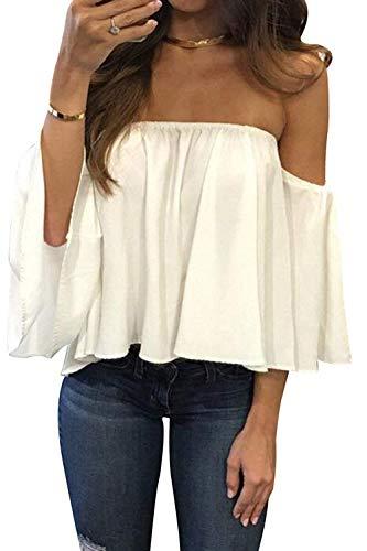 Bluetime Women Off The Shoulder Tops Summer Short Sleeve Chiffon Blouses Ruffles Sexy Tee Shirts (S, White)