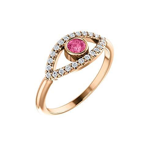 Hermoso anillo turmalina rosa zafiro blanco