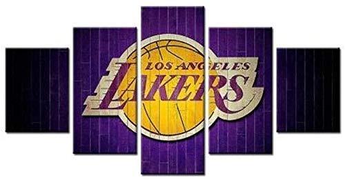 bnkrtopsu 5 Cuadro en Lienzo 5 Fotos Juntas en una Sala de Estar Dormitorio Creativo murales Decorativos y Carteles(Sin Marco) Baloncesto de Los Angeles Lakers