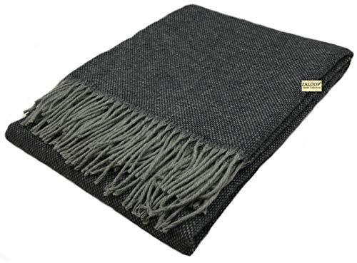Zaloop Wolldecke 100% Schurwolle in versch. Farben und Größen Schurwolldecke Plaid (anthrazit grau, ca. 140 x 200 cm)