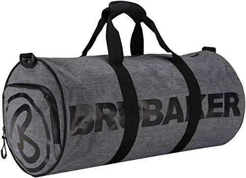Brubaker Unisex Duffel Bag Sporttasche 27 L - wasserabweisend - Schuhfach + Nassfach + Abnehmbarer Schultergurt - 54 cm x 25 cm Ø - Anthrazit Grau Melange/Schwarz