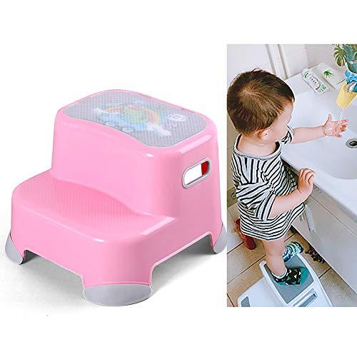 2-stufige Hockerleiter für Kinder - verdickter Kinderplastikhocker × 2, handunterstützte Aufstiegsleiter, rutschfestes Leichtgewicht, Höhe 24 cm,Pink