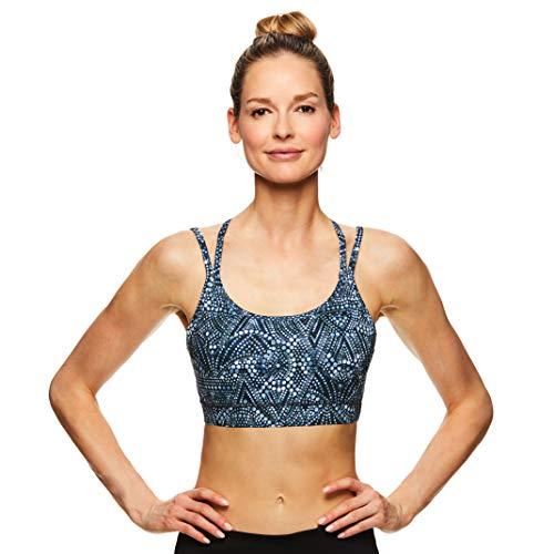 Gaiam Damen Sport-BH mit Träger, kabellos, Sport-BH, mittlere Schlagkraft, Racerback Workout & Yoga Bralette - Schwarz - small