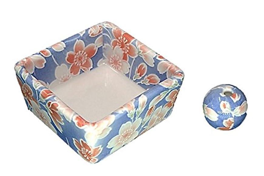 生産的小康修理工和モダン 染桜 お香立て 陶器 角鉢 製造直売品