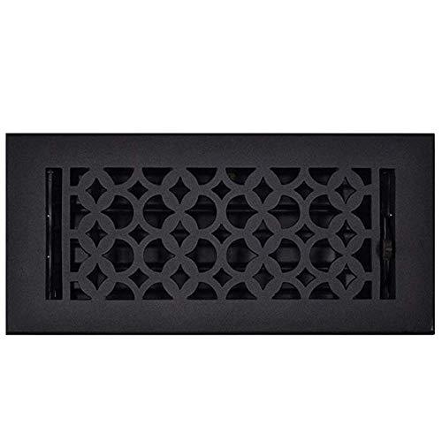 Floor Register 4x10 - Handcrafted Cast Iron HVAC Vent Cover – Elegant Floor Registers with Steel Damper, Durable, Sand Casted, Powder Coated, Matte Flat - Black