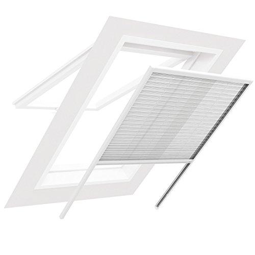 Insektenschutz für Dachfenster Plissee Sonnenschutz Insektenschutzgitter - 100 x 160 cm - einfache Montage - Farbe: weiß
