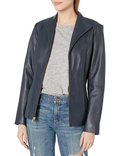 Cole Haan Women's Leather Wing Collared Jacket, Navy, Large