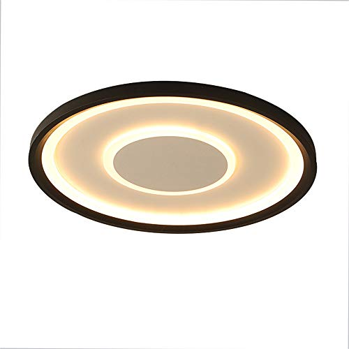 LED plafondlamp dimbaar met afstandsbediening Moderne ronde ultradunne plafondlamp (3000K-6500K) acryl lampenkap voor woonkamer, slaapkamer, eetkamer, keuken, hal, zwart, 52 Wø50 cm × 4 cm