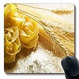 Luancrop Alfombras de Dieta Pastas alimenticias sin cocer Bebidas de macarrones Oblong Gaming Mouse Pad Alfombra Antideslizante de Goma
