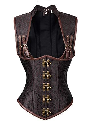 FeelinGirl Damen Korsett mit Stahlstäbchen - Brokatmuster - Retro/Gothic/Steampunk-Stahl ohne Knochen, Brown, S(EU 34)