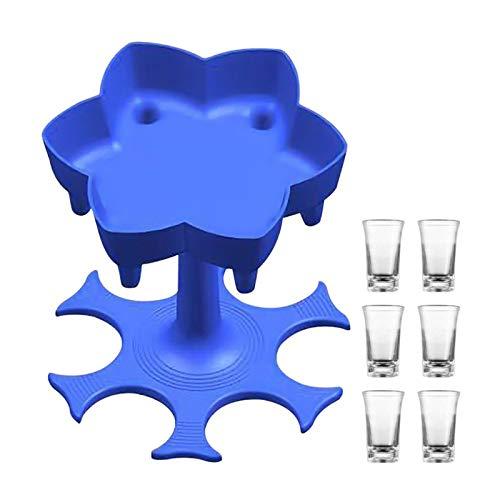 ERTYU Dispensador y Portador de 6 Vasos de chupito, dispensador de chupitos, dispensador para llenar líquidos, dispensador múltiple de 6 chupitos, dispensador de cócteles para Bar