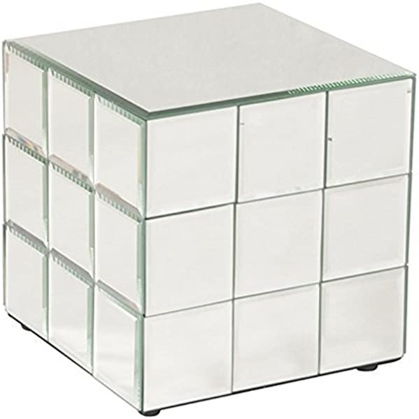 Howard Elliott Mirrored Puzzle Cube Pedestal Accent Table Short 10 X 10 X 10 Inch