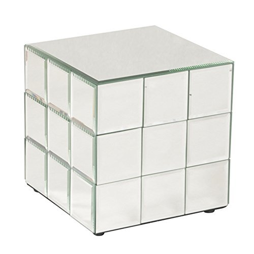 Howard Elliott Mirrored Puzzle Cube Pedestal Accent Table, Short, 10 x 10 x 10 Inch