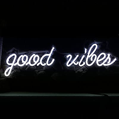 "LiQi ' Good Vibes ' Real Glass Handmade Neon Wall Signs for Home Decor Wall Light Room Decor Home Bedroom Girls Pub Hotel Beach Cocktail Recreational Game Room (19"" x 6"")"