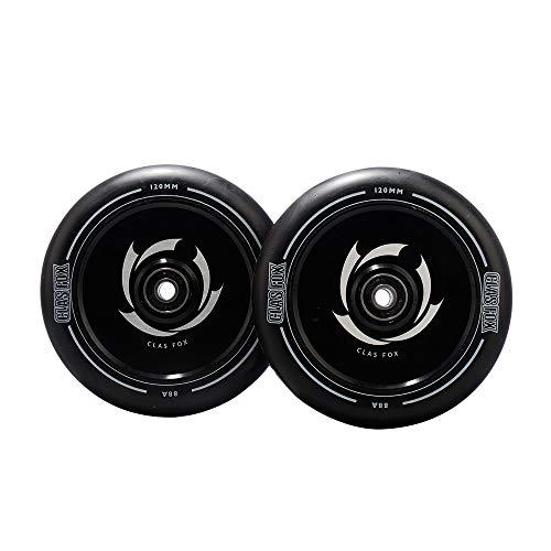 CLAS FOX Ruedas para patinete Pro Stunt de 120 mm, ruedas huecas, un par con rodamientos ABEC-9, núcleo de metal CNC para MGP/Razor/Lucky/Envy/Vokul Scooter (2 unidades), núcleo negro de poliuretano