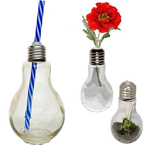 alles-meine.de GmbH 4 Stück _ Trinkgläser / Gläser / Vasen - Glühbirne - Lampe - mit Strohhalm blau - je 0,25 Liter - transparent / durchsichtig - Trinkbecher als Glas / Sommergl..