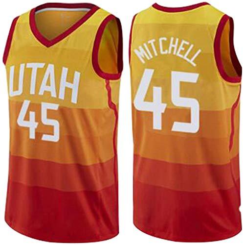 Donovan Mitchell #45 - Camiseta de baloncesto, versión vintage, unisex, sin mangas, para deportes al aire libre, 123, naranja, medium