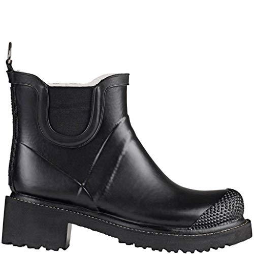 Ilse Jacobsen Stiefelette | Gummistiefel Kurzschaft Schuhe | Boots mit Absatz und Elastik Band schwarz innen und außen | RUB47 Schwarz 41 EU