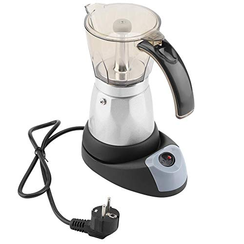 Elektrisch Espressokocher, 480W 220V 300ML/6 Tassen Espresso Moka Coffee Maker, durchsichtiger Aufsatz