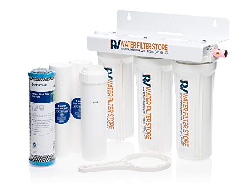 RV Water Filter Store Essential System + Iron and Heavy Metals Water Filtration - Inside Camper and Under Sink Mount